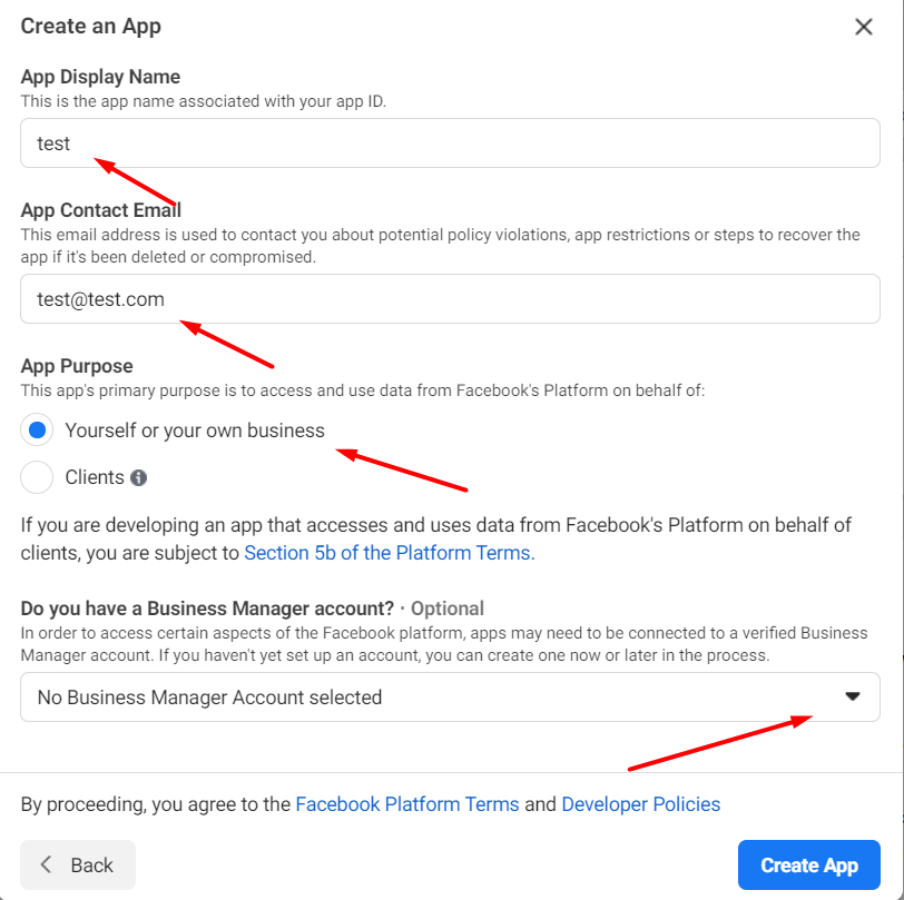 How to set up your app in facebook