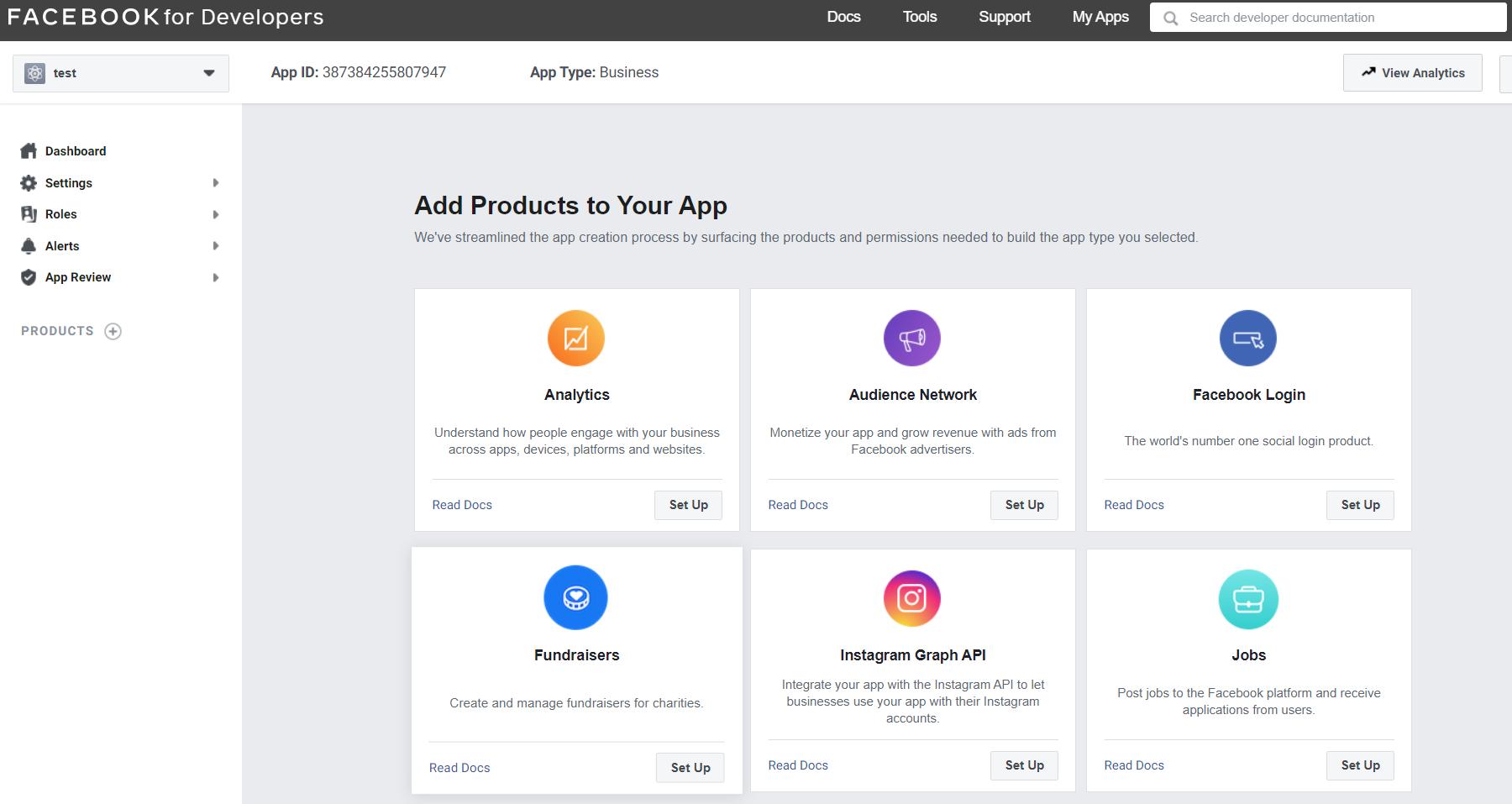 Facebook App setup dashboard