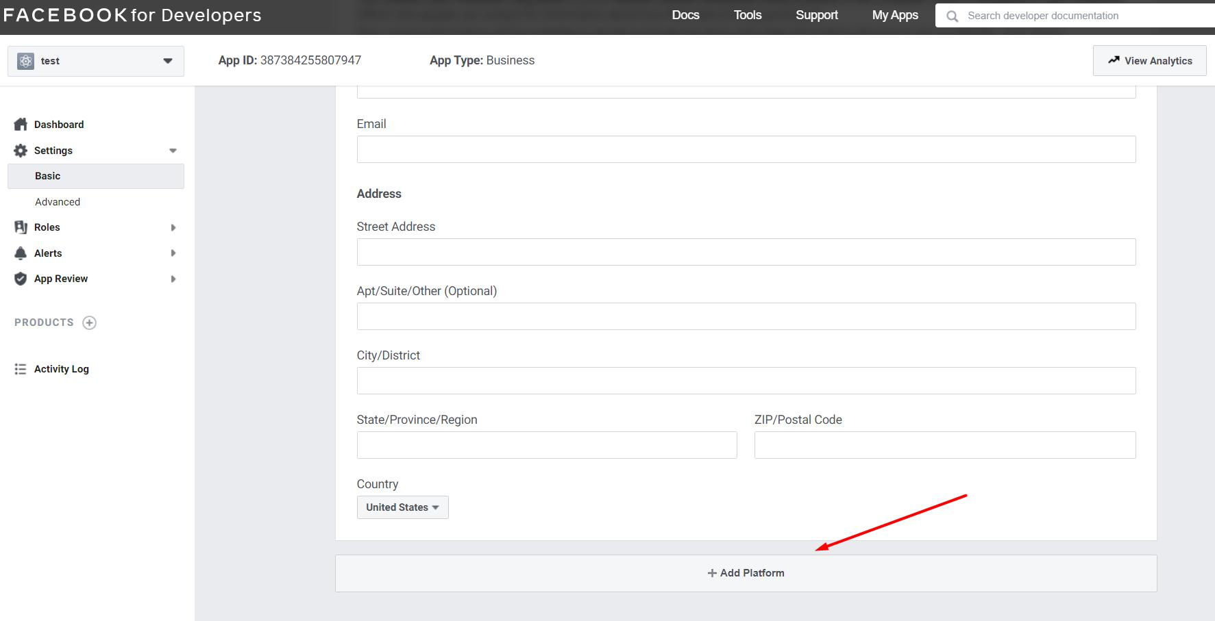 Facebook - How to add platform
